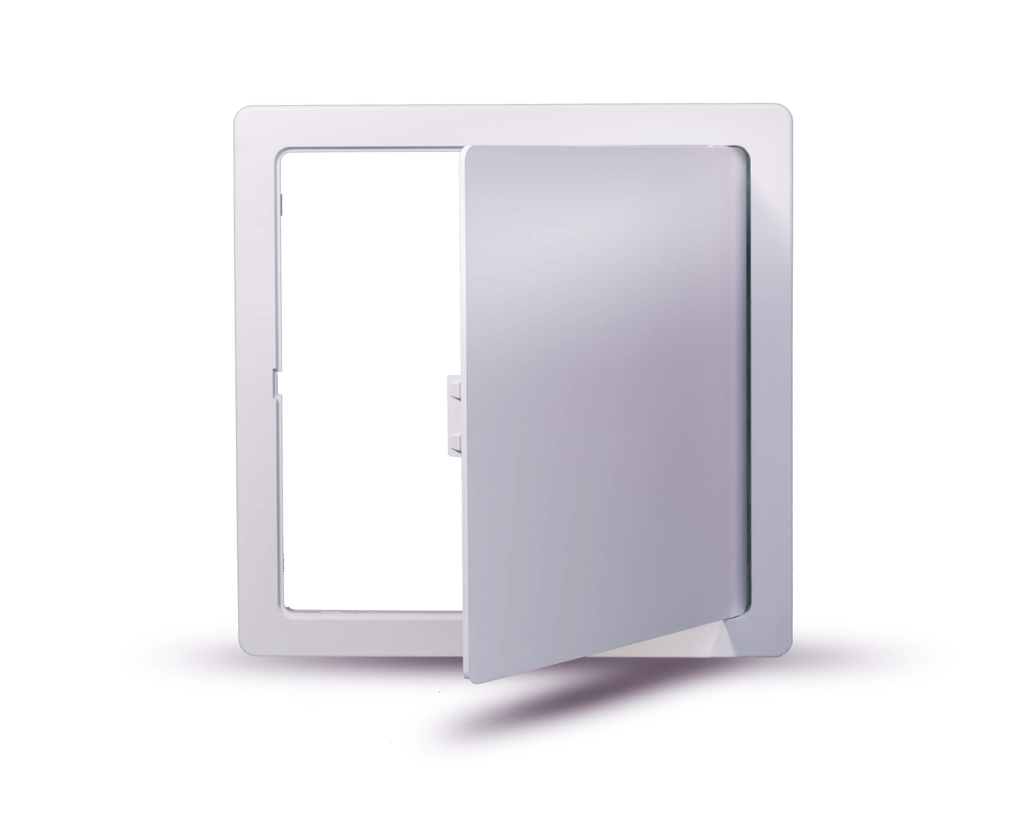 Square access panel picture frame open