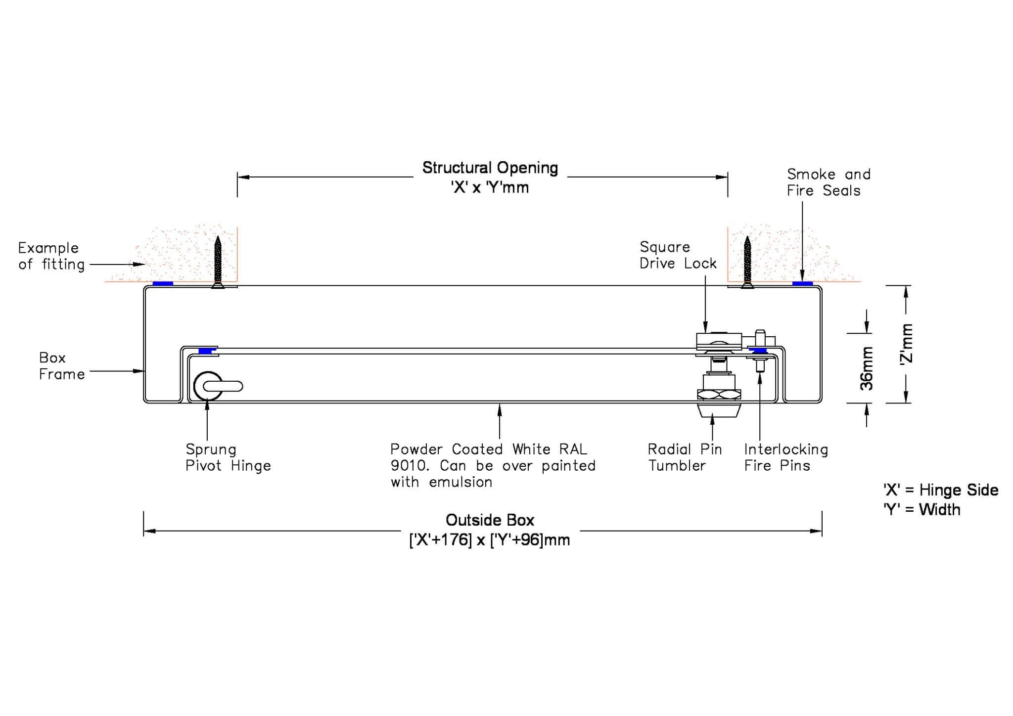 Fire Rated Meter Over Box drawing